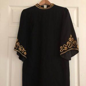 Vintage black shift dress mock neck medium